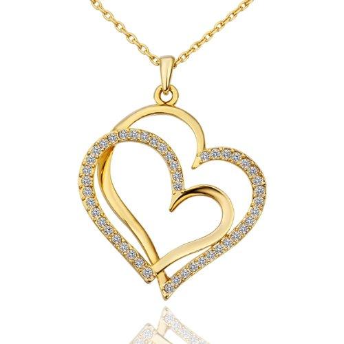 Colgante con doble corazón chapado en oro