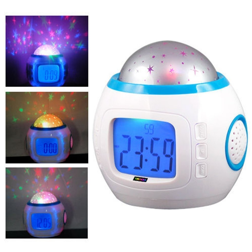 Lámpara de luces led con reloj y música incluida