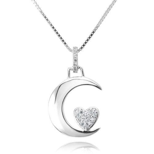 Colgante de plata con luna y corazón