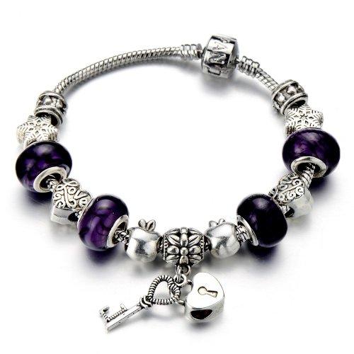 Pulsera de cristal de murano en color púrpura